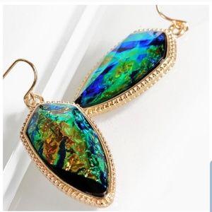 Opal green iridescent earrings NEW